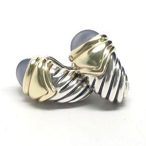 David Yurman Blue Chalcedony Shrimp Earrings